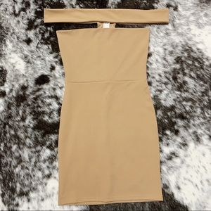 Missguided Bardot Mini Dress (camel)